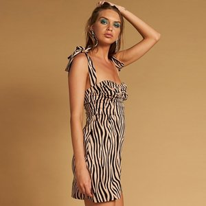 Wholesale Womens Summer Sexy Leopard Dresses Women Fashion Slash Neck Panelled Bodycon Dress Summer Ladies Slim Sling Tights Sexy Striped Print Dress