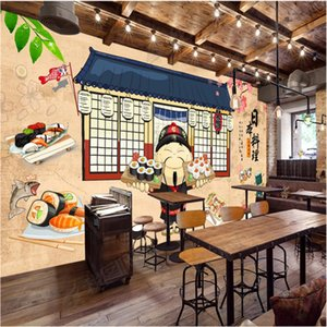 Wholesale Vintage Cartoon Japanese Style D Wall Paper Japanese Sushi Cuisine Restaurant Industrial Decor Background Mural Wallpaper D