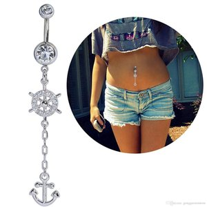 Wholesale 10pc Vintage Boho Anchor Wheel Long Dangle Navel Ring Stainless Steel Belly Button Ring Body Piercing Jewelry Piercing Ombligo