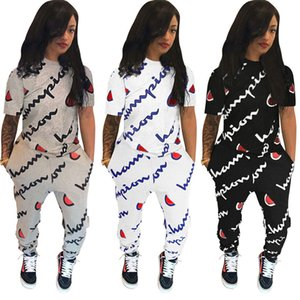 Wholesale Champion brand Tracksuit Short Sleeve Pocket Letter Print Two Piece Sets plus size women girls Outfits Tights Leggings trousers t shirt suit