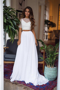 White Transparent Two Pieces Boho Short Sleeve Sheath Wedding Dresses Long Summer Beach Lace Vestidos Chiffon Sweep Train Bridal Gown Modern on Sale