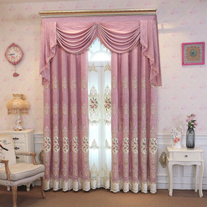 FYFUYOUFY top European light velvet embroidered curtains for villa living room upscale hotel bedroom window decoration