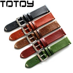 Wholesale TOTOY Handmade Horse Hip Leather Watchbands Black Brown MM MM MM Vintage Leather Strap Fast delivery