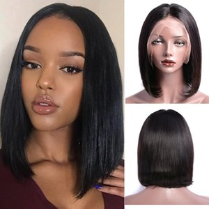 Wholesale Modern Show Density Straight Bobo Lace Front Wigs Thin and Light Remy BOBO Straight Human Hair Lace Frontal Wigs