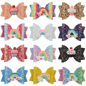 Wholesale butterflies clips for sale - Group buy 3 inch Baby Bow Hairpins Sequin fruit butterfly Rainbow cake Hair grips children Girls Hair Clips Kids Hair Accessories Barrettes C6823