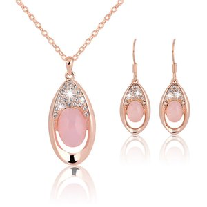 Fashion Women Wedding Accessories Jewelry Set Sweet Pink Crystal Alloy Chian Pendant Necklace Rhinestone Long Drop Earrings VL