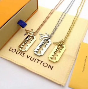Wholesale 2019 NEW With Original box New Paris Fashion Luxury Designer V shape Necklace Blade Pendant women sweater necklace men jewelry gift