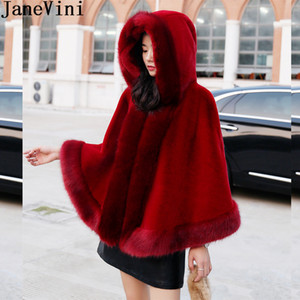 JaneVini 2019 Hooded Short Fur Wrap Women Burgundy Cloak Bridal Shawl Faux Fur Bolero Black Party Wedding Coat Hood Cape Chal Boda