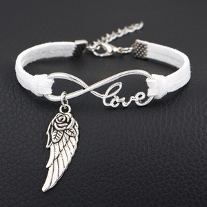 Hot White Leather Suede Bracelet For Women Men Classic Bohemia Infinity Love Flower Wings Angel Charms Wrap Fashion Jewelry Accessories Gift