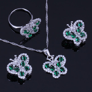 Wholesale Splendid Butterfly Green Cubic Zirconia White CZ Sterling Silver Jewelry Sets For Women Earrings Pendant Chain Ring V0996