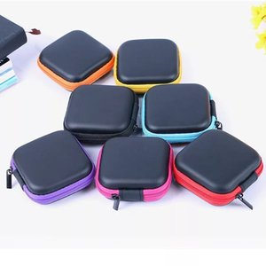 Wholesale Hot Mini Zipper Headphone Case Portable Earbuds bag PU Leather eva Earphone Storage Bag Protective USB data cable Organizercharger package
