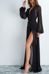 Wholesale Women s Chiffon Sexy Loose Cardigan See Through Sheer Lingerie Kimono Robe Swimwear Swimsuit Cover Up Long Maxi Dress