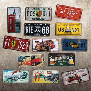 Wholesale Free ship European Vintage number plate iron crafts metal painting bar pub clothing shop decoration pictures cafes coffee shop mural