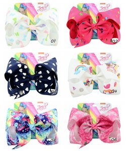 Wholesale 8 inch bow girl hair bows Flowers Rainbow Mermaid Design Girl Clippers Girls Hair Clips JOJO SIWA Hair Accessory