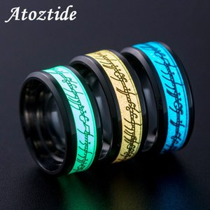 Wholesale Atoztide Classic Blue Green Yellow Luminous Lord Of Rings Stainless Steel Fluorescent Ring Of Power Party Wedding Band Fan Gift