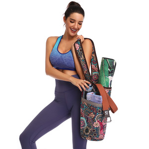 Wholesale yoga bag zipper resale online - Yoga Bags Large Capacity Zipper Pocket Yoga Mat Tote Practical Fitness Mat Carrier Single shouder Canvas Bohemian Style Yoga Accessories