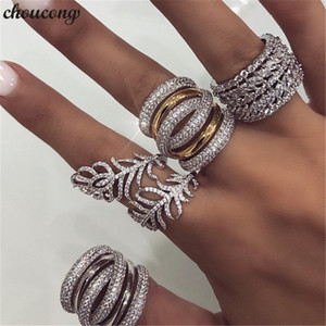 vecalon Handmade Big Finger ring White Gold Filled Full 250pcs Diamond Cz Engagement Wedding Band Rings For Women men Jewelry