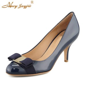 Wholesale Shoes Woman Pumps Female Genuine Leather Stiletto High Heels cm Cute Bow Black Apricot Nude Blue Evening Brand Size Classic
