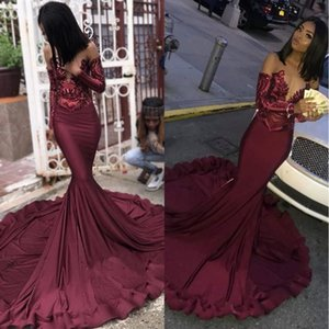Maroon Burgundy Prom Dresses 2019 Mermaid Illusion Sequins Lace Top Black Girls' Plus Size Pageant Evening Formal Party Gowns BC1250