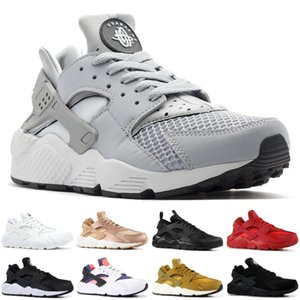 Wholesale 2019 Air Huarache Men Running Shoes Stripe Red Balck White Rose Gold Women Designer Shoes Sport Sneakers