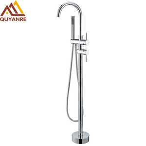 Wholesale standing mixers for sale - Group buy Chrome Bathtub Faucet Rotation Chrome Floor Stand Faucet Single Handle Mixer Tap ABS handshower Bath Faucets