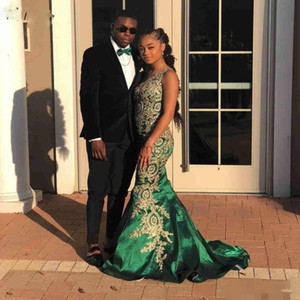 Wholesale Emerald Green African Mermaid Prom Dresses One Shoulder Gold Appliques Long Formal Evening Party Gowns Special Occasion Dress