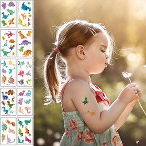 Wholesale kid dinosaur for sale - Group buy Cute Dinosaur Cartoon Colorful Tattoo Sticker Kids Temporary Waterproof Holiday Party Arm Face Hands Body Art Tattoo for Boy Girl Gifts Fake