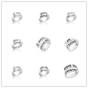 Wholesale 2019 STYLES Hot wide band open rings Letter BE BRAVE ring open cuff Stainless Steel Women MEN finger Rings