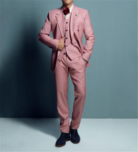 Wholesale Tender Pink Wedding Gentlemen Suits Three Pieces Coat Pant Vest Business Men Tuxedos With Notched Lapel One Set Per Opp Bag
