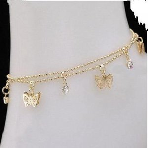 2020 New Fashion Women's Foot Chain Summer Personality Wild Popular Double Butterfly Lady Legs Anklet Wholesale