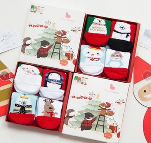 Wholesale Christmas Gift Box Sock Baby Kids Cotton Christmas Tree Santa Claus Deer Socking Kids Middle Red Christmas Baby girl boy Soft socks T