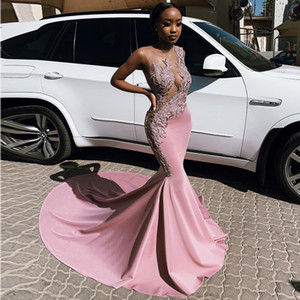 Fabulous Pink Mermaid Prom Dresses Sheer Jewel Neck African Appliqued Evening Gowns Plus Size Sweep Train Satin Formal Dress on Sale