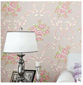 обои сердце оптовых-Self adhesive non woven wallpaper D stereoscopic girl heart rural romantic bedroom living room bedside background wallpaper