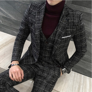 3 Pieces 2019 Suits Men British New Style Designs black Mens Suit Autumn Winter Thick Slim Fit Plaid Wedding Dress Tuxedos