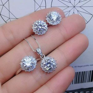 Wholesale MeiBaPJ Carat D Color Real Moissanite Diamond Jewelry Set Solid Silver Necklace Earrings Ring Wedding Jewelry for Women