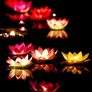 Wholesale 10pcs Multicolor Wishing Floating Lotus Lamps With Candle Flower Water Lantern For Baby Showers Event Party Supplie