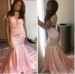 Wholesale New Elegant Pink Mermaid Evening Dresses Long Lace Cut Out Back High Neck With Short Sleeve Prom Party Gowns