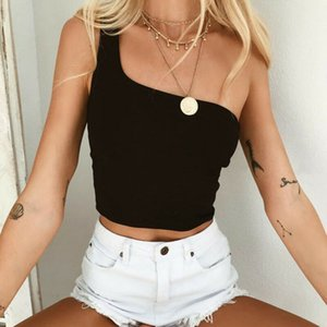 Wholesale Summer fashion casual solid color women s one shoulder cropped shirt long sleeved slim vest vest shirt Clubwear t shirt