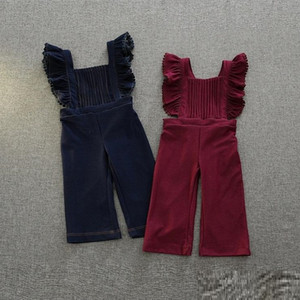 Wholesale Vieeoease Girls Overalls Christmas Denim Kids Clothing Autumn Fashion Lotus Leaf Edge Flare Pants