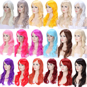 Wholesale 23inch Long loose wave Anime Cosplay Wigs Pink Black Blue Brown Blonde red Women Hair Wig Heat Resistant Synthetic wig for cosplay Products