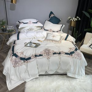 Wholesale bedding sets boxing for sale - Group buy 100 Egyptian Cotton White Duvet Cover Bed Sheet Set Pillow Shams Queen King size Embroidery Bedding sets with Gift Box