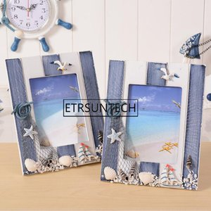 48pcs Blue Ocean Photo Frame Summer Shell Wood Picture Frame Wedding Room Desktop Decorated Oranments Home Decor on Sale