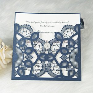 Hot Sale Laser Cut Invitation Cards with Crystal Diamond For Wedding Party, Navy Blue Custom Printing Quinceanera Invitations Dinner Invites