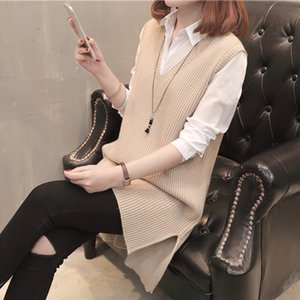 Wholesale 2018 Spring Vest Sweater V neck Short Sleeved Ladies Pullover New Fashion Ladies Long Loose Solid Vest Knit Skirt