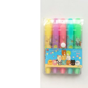 6 set Lot Cute animal color highlighter pen Cartoon Sumikko gurashi Panda marker pens Stationary Office School supplies A6204 on Sale