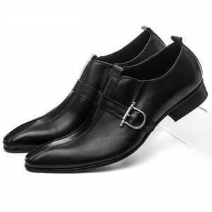 Wholesale CLORISRUO Large Size EUR45 Brown Black Pointed Toe Loafers Men Dress Shoes Genuine Leather Business Shoes Male Wedding Groom S