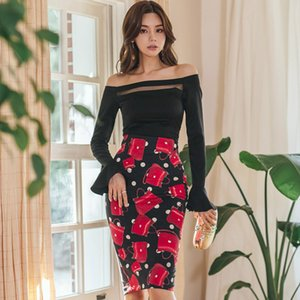 Wholesale 2019 Spring Slash Neck Flare Sleeve Black Top Shirt Print Bodycon Pencil Midi Skirt Two Piece Party Sets Dresses