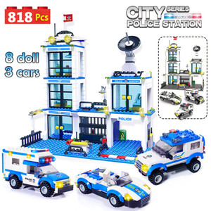 818pcs City Police Station SWAT Car Building Blocks Compatible inglys City Police Bricks Boy Friends Toys for Children GB27
