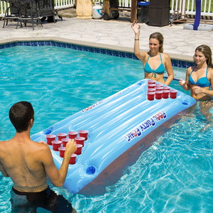 Hot Selling 24 Cup Holder PVC Inflatable Beer Pong Table Pool Float Water Party Fun Air Mattress Lounge Ice Bucket Cooler,HA093