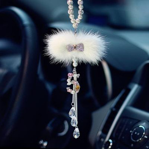 Wholesale 1 PC Car Hanging Accessory For Girls Diamond Bowknot Pendant In Car Rearview Mirror Ornament Crystal Auto Interior Decor